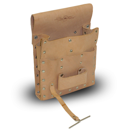 Leather Tool Pouch, Belt Loop, 7-Pocket