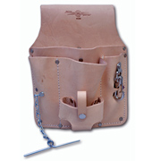 Leather Tool Pouch, Belt Loop, 5-Pocket