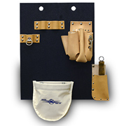 Aerial Tool Board with Hook Holes, Made w/4-Pkt Leather Pouch, Canvas Pouch